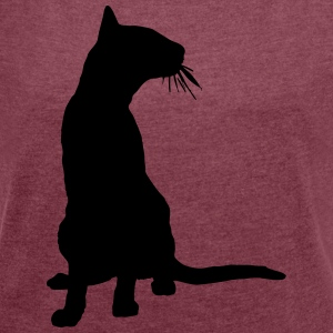 Vector Cat Silhouette - Women's T-shirt with rolled up sleeves