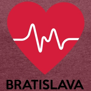 heart Bratislava - Women's T-shirt with rolled up sleeves
