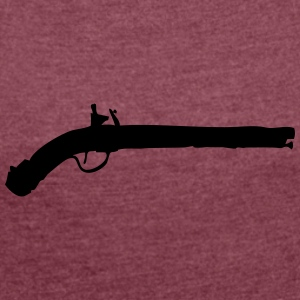 Vector Gun Silhouette - Women's T-shirt with rolled up sleeves