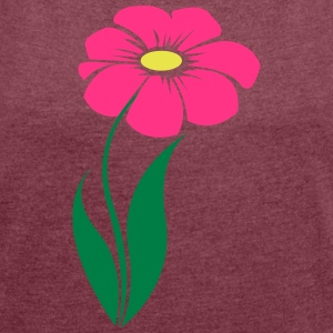 flower pink - Women's T-shirt with rolled up sleeves