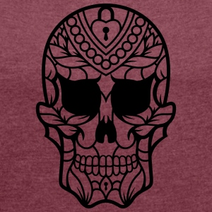 Sugar Skull / Mexican sugar skull / Skull Candy ou - Women's T-shirt with rolled up sleeves