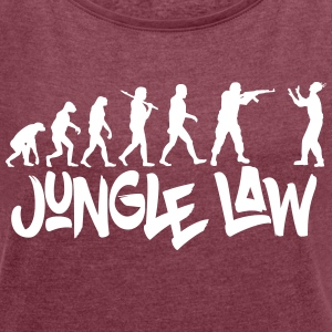 JUNGLE_LAW - T-shirt med upprullade ärmar dam