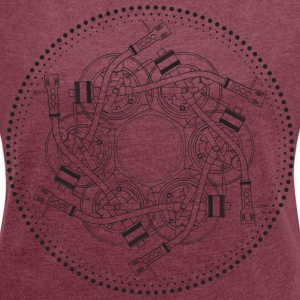 mandala turntable 1210 - Women's T-shirt with rolled up sleeves