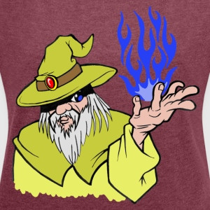 Willpower Wizard Yellow / Dark Blue Flame - No Text - Women's T-shirt with rolled up sleeves