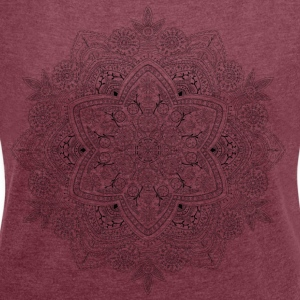 Mandala hand drawn, - Women's T-shirt with rolled up sleeves