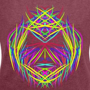 face trippy abstract psychedelic colorful - Women's T-shirt with rolled up sleeves