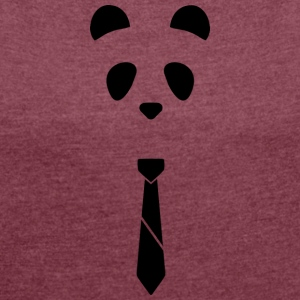 Panda Tie - Women's T-shirt with rolled up sleeves