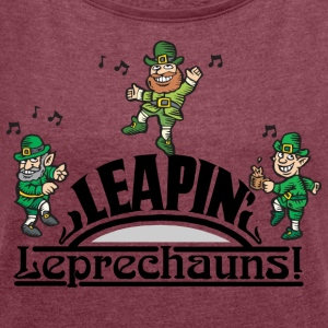 Irish Leaping Leprechauns - Women's T-shirt with rolled up sleeves