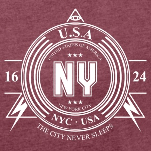 New York Badge - T-skjorte med rulleermer for kvinner