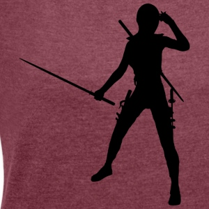 Ninja / Samurai / Assasin with sword as a gift - Women's T-shirt with rolled up sleeves
