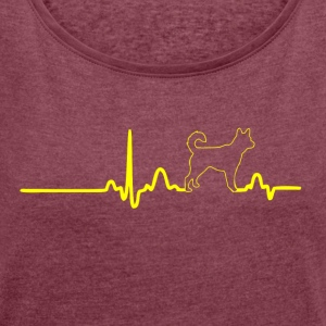 ECG HEART LINE HACHIKO yellow - Women's T-shirt with rolled up sleeves