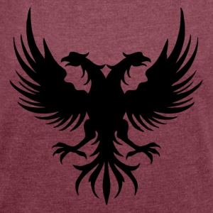 Two eagle Head of the flag of Albania - Women's T-shirt with rolled up sleeves