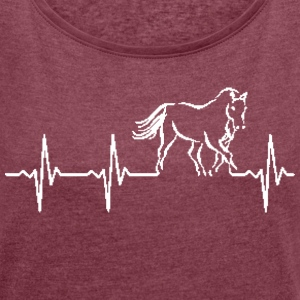 The pulse of a horse - Women's T-shirt with rolled up sleeves