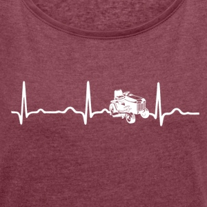 ECG HEARTBEAT RACING MOWERTRACKER white - Women's T-shirt with rolled up sleeves