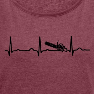 ECG HEARTBEAT CHAIN ​​SAW - Women's T-shirt with rolled up sleeves