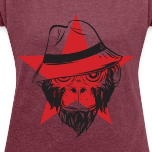 Scimmia_cappel_1 monkey - Women's T-shirt with rolled up sleeves