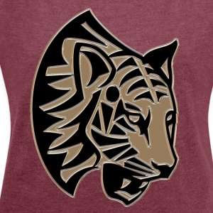 Tiger head mosaic - Women's T-shirt with rolled up sleeves