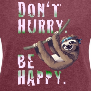 Sloth Slow chilling sleep lazy sloth Nerd spruc - Women's T-shirt with rolled up sleeves