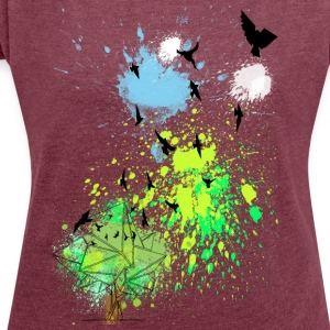birds in color - Frauen T-Shirt mit gerollten Ärmeln