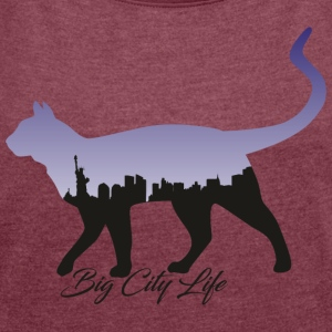 Cat in the New York Design - Women's T-shirt with rolled up sleeves