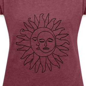 Sun and moon - Women's T-shirt with rolled up sleeves