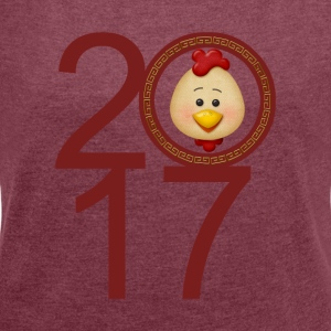 2017 Year of the Rooster - Women's T-shirt with rolled up sleeves