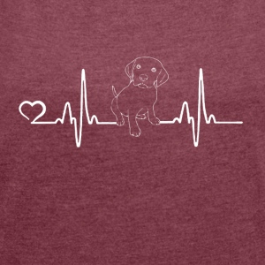 Dog - heartbeat - Women's T-shirt with rolled up sleeves