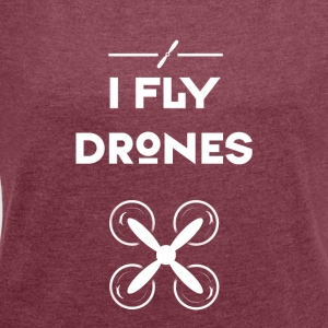 Drone fly heli flight control drones quadrocopt - Women's T-shirt with rolled up sleeves