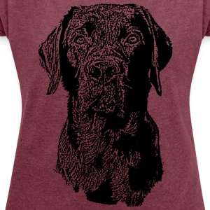 Labrador hypnosis views - Women's T-shirt with rolled up sleeves