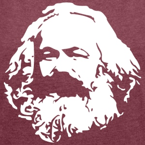Karl Marx stencil - Women's T-shirt with rolled up sleeves