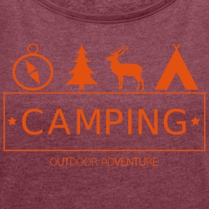 Outdoor Adventure Camp - Frauen T-Shirt mit gerollten Ärmeln