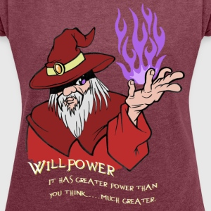 Willpower Wizard Red / Purple Flame - Women's T-shirt with rolled up sleeves