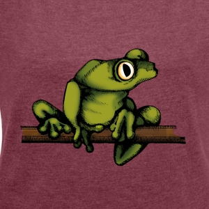 frog-shirt - Women's T-shirt with rolled up sleeves
