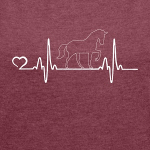 Horse - Heartbeat - Women's T-shirt with rolled up sleeves