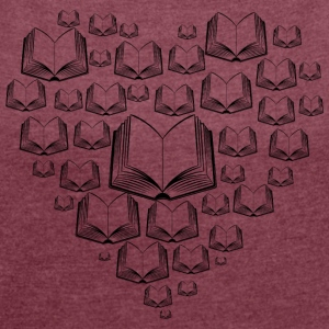 Books heart - Women's T-shirt with rolled up sleeves