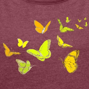 T-shirt butterfly in spring - Women's T-shirt with rolled up sleeves