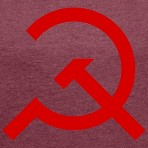 Simple Hammer and Sickle - Women's T-shirt with rolled up sleeves
