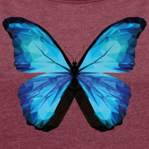 BUTTERFLY POLYGON in blue - Women's T-shirt with rolled up sleeves