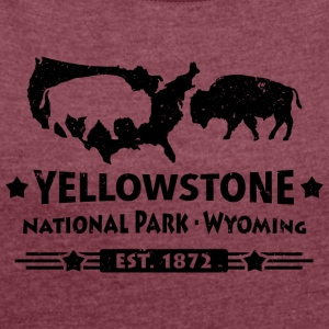 Buffalo Bison Buffalo Yellowstone National Park USA - Women's T-shirt with rolled up sleeves