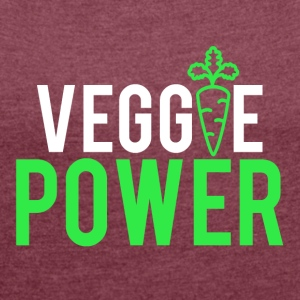 VEGGIE POWER - Women's T-shirt with rolled up sleeves