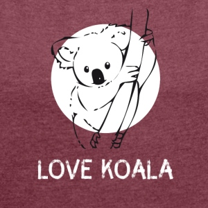 Koala bear cute drawing tree australia funny - Women's T-shirt with rolled up sleeves