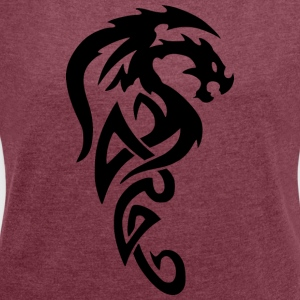 dragon tribial - Women's T-shirt with rolled up sleeves
