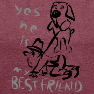 DOG LOVER - Women's T-shirt with rolled up sleeves