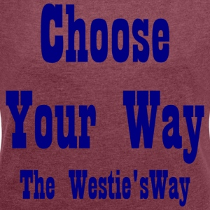 Choose Your Way Navy - Women's T-shirt with rolled up sleeves