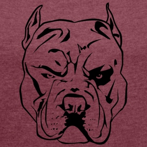 Aggressive Pitbull - Women's T-shirt with rolled up sleeves