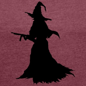 Witch with Assault Rifle / AK for Halloween - Women's T-shirt with rolled up sleeves