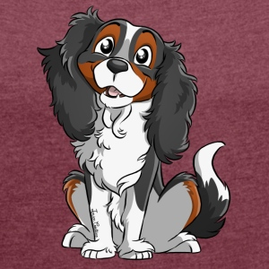 Cavalier King Charles - Black Tricolore - Women's T-shirt with rolled up sleeves