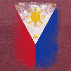Philippinen-Filipino-Flagge Stolz Vintage Distressed - Frauen T-Shirt mit gerollten Ärmeln