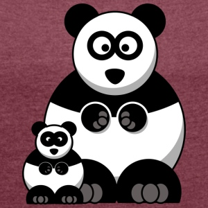 Mama Panda and Baby Panda - Women's T-shirt with rolled up sleeves