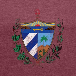 Cuban Coat of Arms Cuba Symbol - Women's T-shirt with rolled up sleeves